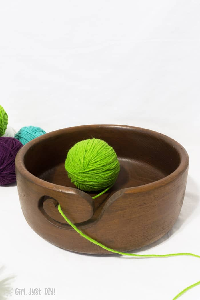 DIY Yarn Bowl with green yarn ball.