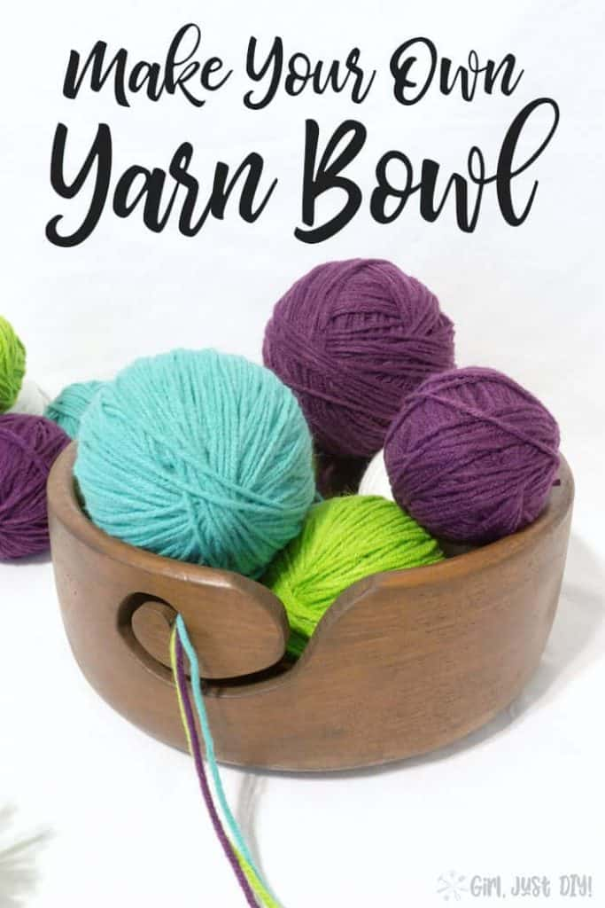 DIY Yarn Bowl with pinterest text.