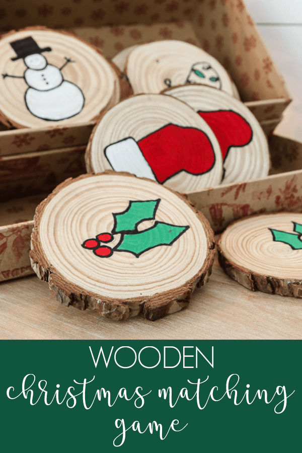 wood slice memory game, green holly and red stocking pieces