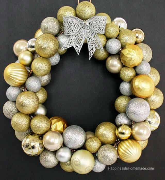 Sparkly Christmas Wreath made from silver and gold ornaments.