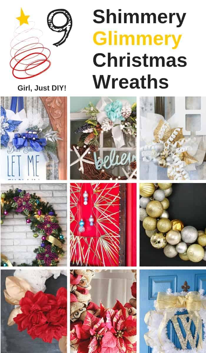 Nine Sparkly Christmas Wreaths in a pinterest graphic.