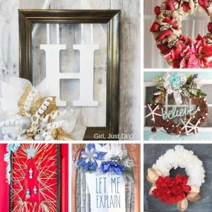 Collage of sparkly Christmas wreaths.