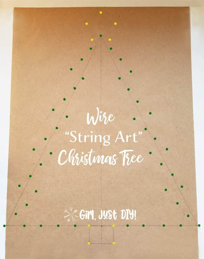 Colored dots on string art christmas tree pattern.