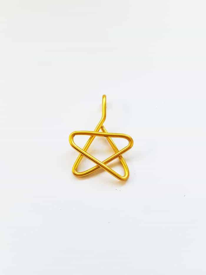 Tiny star made from gold wire.