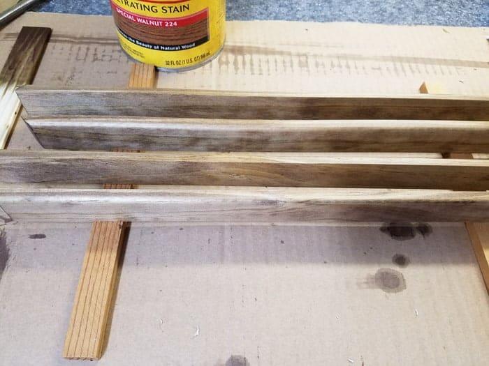 Staining frame for String art christmas tree.