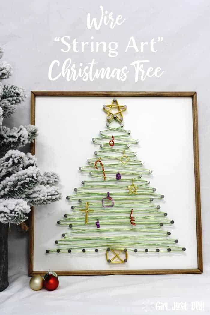 Finished string art christmas tree image for pinterest.