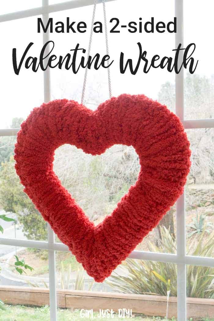 Pinterest image of Double-sided fluffy valentine wreath hung in window.