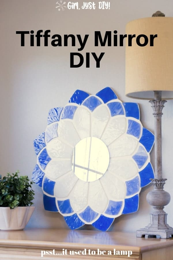 Pinterest graphic for Tiffany Mirror on dresser.