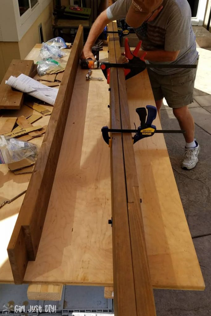 Clamping fascia boards together for diy patio gazebo.