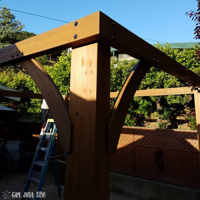 Corner post on diy patio gazebo kit.