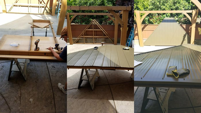 Trio of images assembling roof panels for diy patio gazebo.