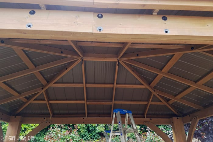 Underside of diy patio gazebo roof assembled.