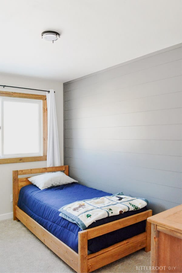 Shiplap bedroom wall painted gray  in Household DIY Projects.