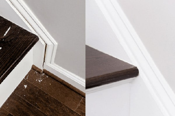 Stair treads before and after re-caulking.