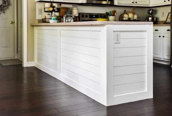 Kitchen Peninsula wrapped with shiplap  in Household DIY Projects.