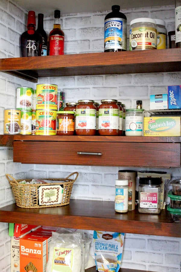 Kitchen Pantry Shelves styled with food and added  in Household DIY Projects.
