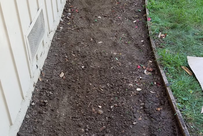 Cleared flower bed ready for plantings