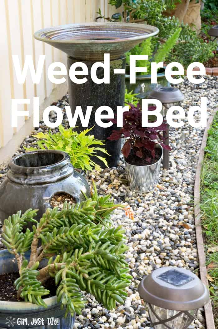 Completed weed free flower bed with text overlay.