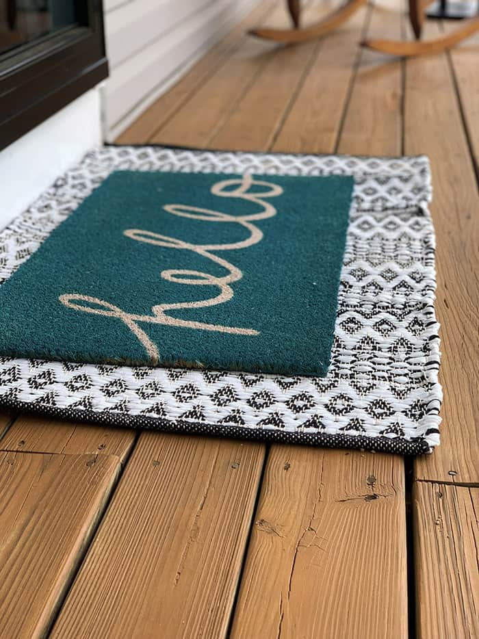 Welcome mat on porch for Outdoor diy projects to update your curb appeal.
