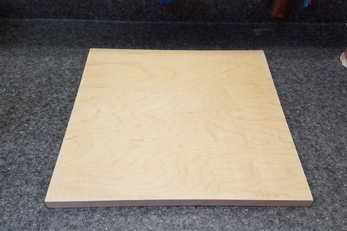 16x16 Plywood top after edge banding installed.