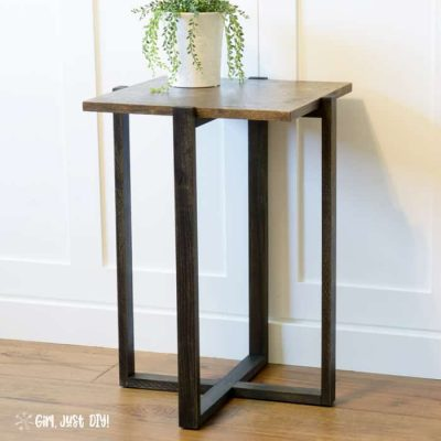 DIY Modern End Table with green plant in a white pot against a white cabinet.
