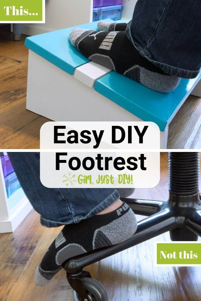 Collage showing diy footrest in use on top and bottom showing socked feet resting on rolling chair legs.