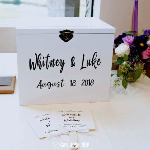 DIY Wedding card box on gift table at wedding reception.