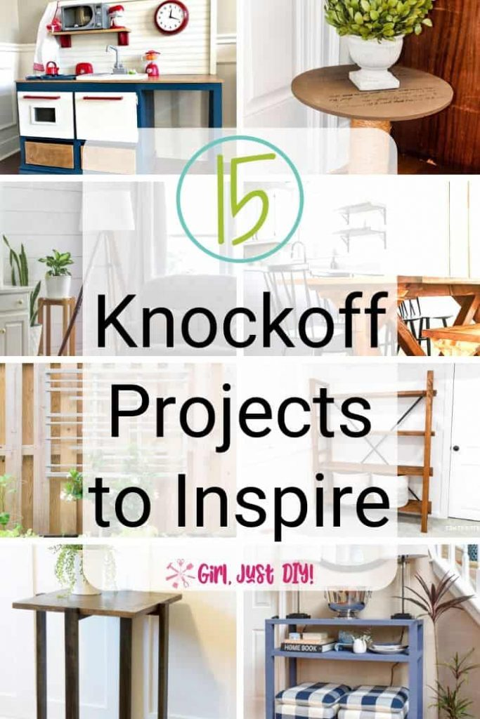 8 picture collage of DIY knockoff projects
