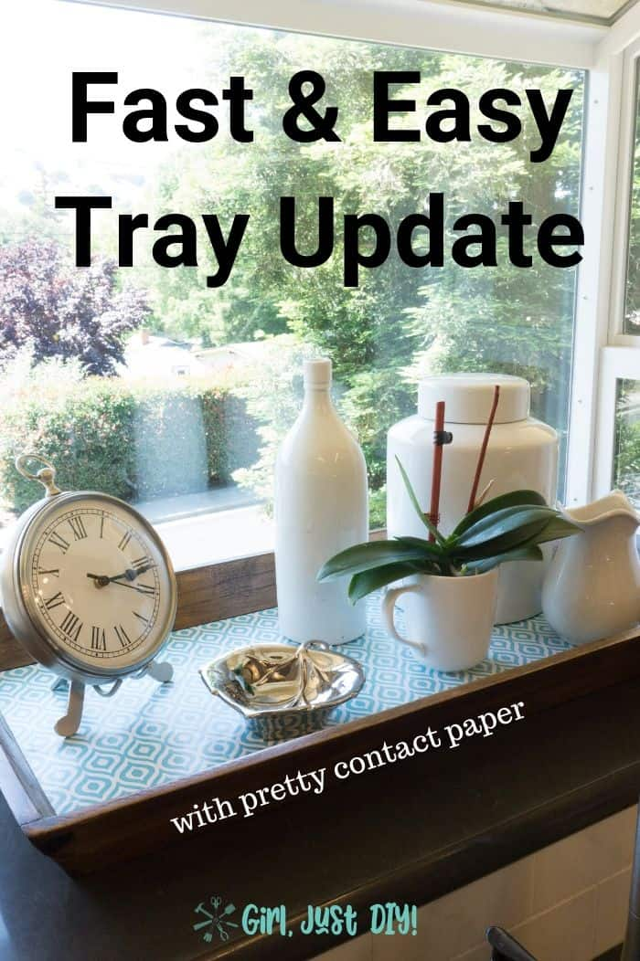 Pin image for fast wooden tray update in window with text.
