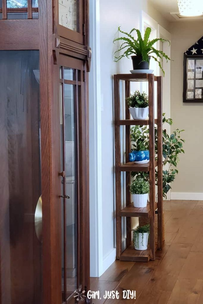 Looking at plant stand in hallway from living room past grandfather clock.