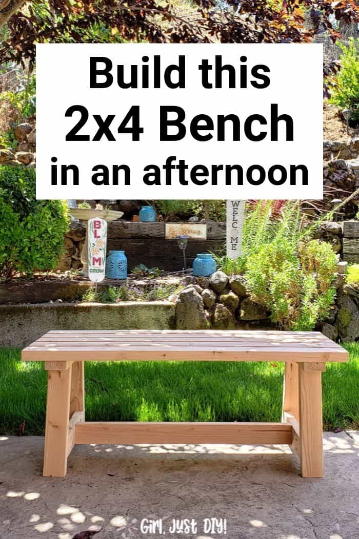 Modern 2x4 Bench DIY pinterest image