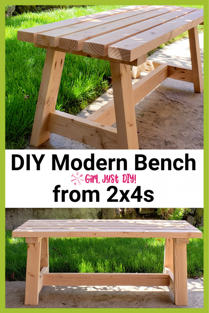 Collage image of DIY Modern 2x4 Bench