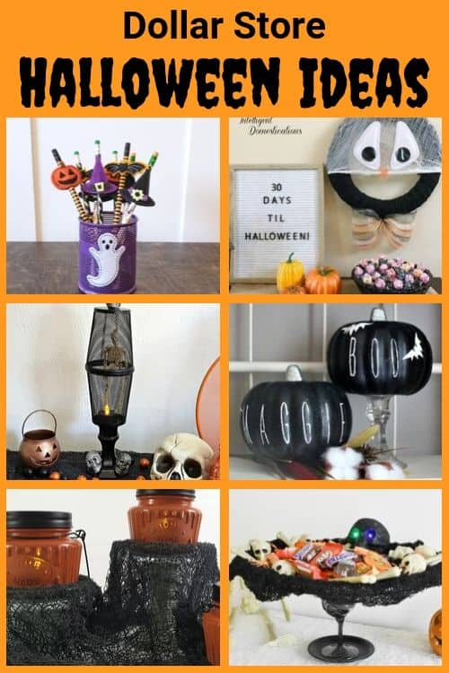 Collage of halloween dollar store projects with orange background.