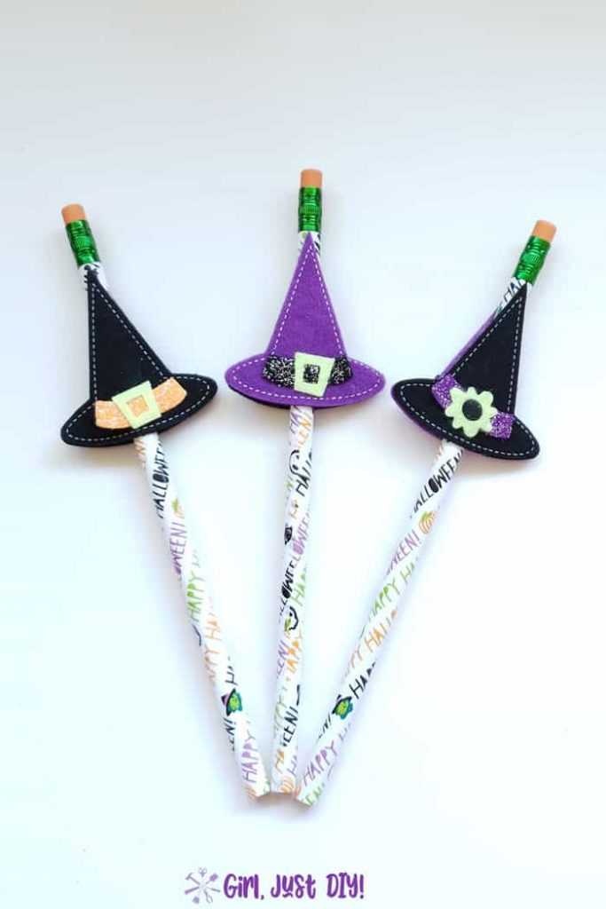 Trio of Halloween Pencil witches hats in purple and black.