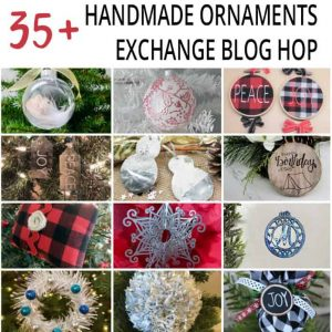 Mini collage of 12 handmade ornaments.