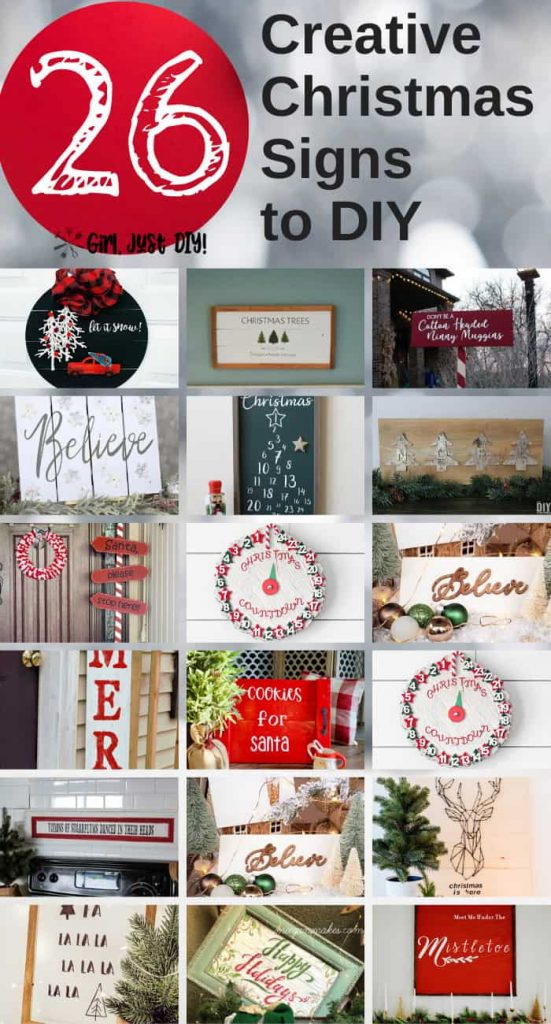 Collage of 26 Creative Christmas Signs to DIY