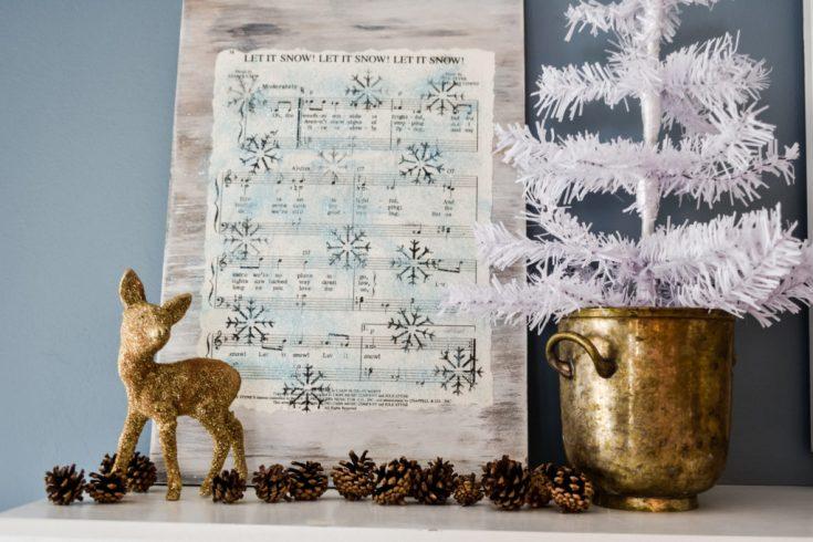 DIY Stenciled Holiday Music Sheet Sign