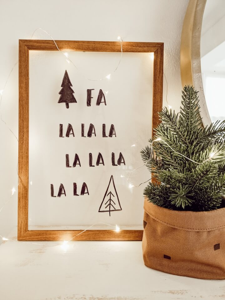 Floating Holiday Sign With Wooden Frame