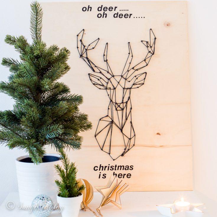 String art Christmas deer head