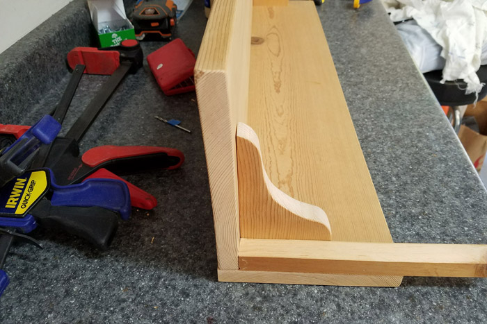 Attaching Corbels to the shelf using a wood spacer