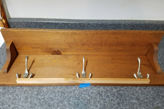 Spacing out the coat rack hooks