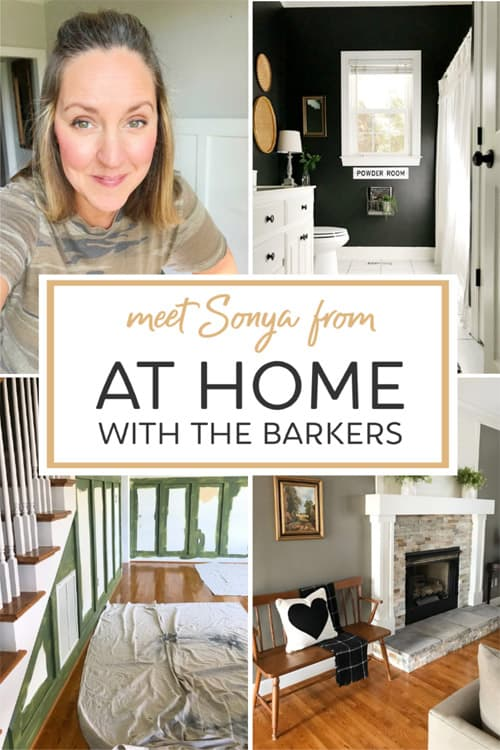 At Home Barkers blogger collage image of projects and her profile picture.