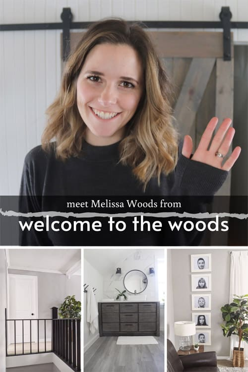 Welcome to the Woods blogger collage image of projects and her profile picture.