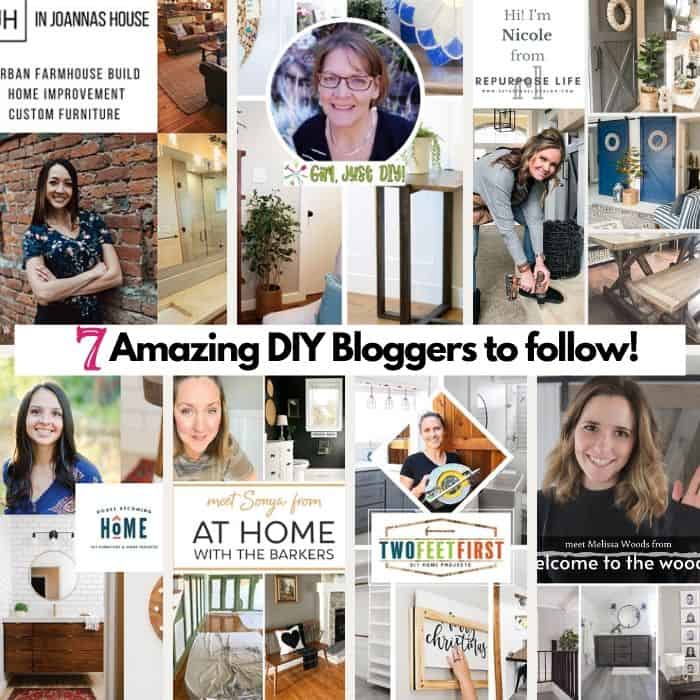 Square Collage with pictures of 7 bloggers to follow.