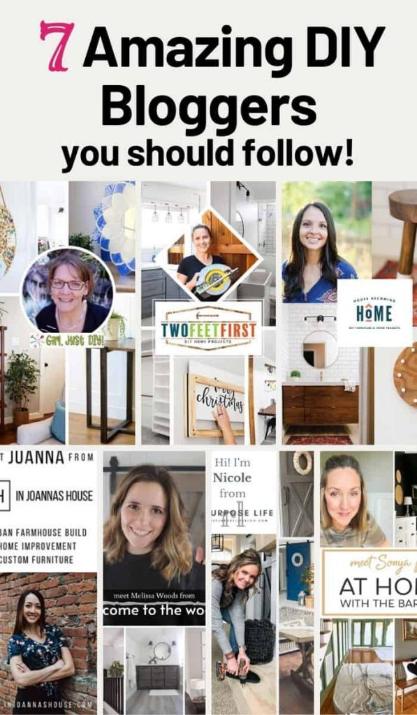 Tall Pinterest collage showcasing 7 bloggers to follow for DIY inspiration.