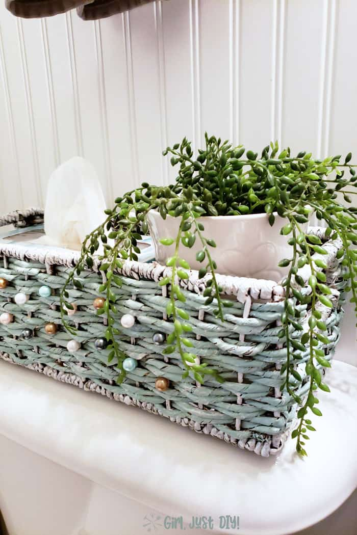 side view of painted wicker basket