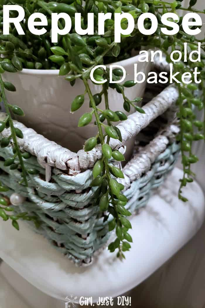 Closeup of pearl white paint on handles of painted wicker basket
