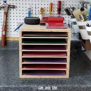 DIY Sandpaper storage rack