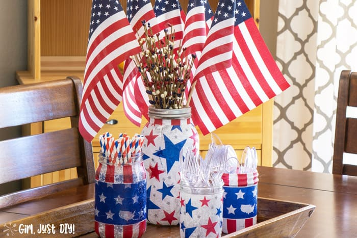 American Flags fill the patriotic mason jar centerpiece