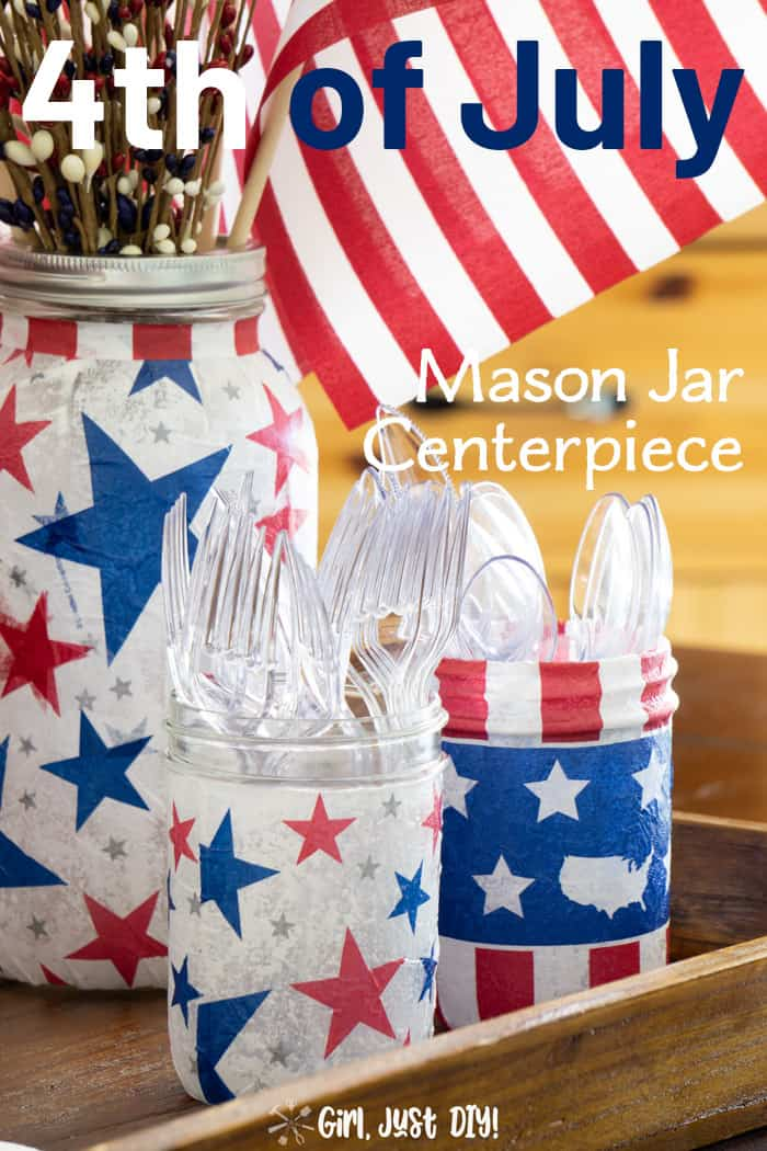 Closeup of patriotic mason jars in a 9
